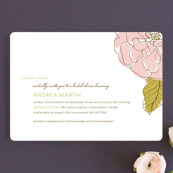 """Simple Sophisticate"" - Modern, Floral & Botanical Bridal Shower Invitations in Blush by Oscar & Emma."