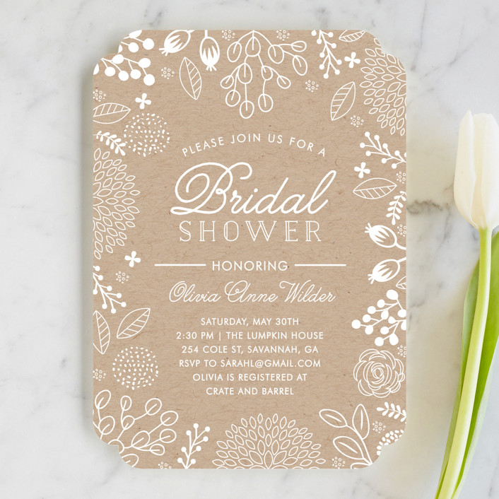 """White on Kraft"" - Floral & Botanical Bridal Shower Invitations in Kraft by Clair Landers."