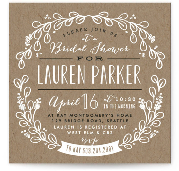 This is a square floral, rustic, brown Bridal Shower Invitations by Alethea and Ruth called Kraft Circle with Standard printing on Signature in Classic Flat Card format. This bridal shower invitation features a kraft background and hand drawn circle of ...