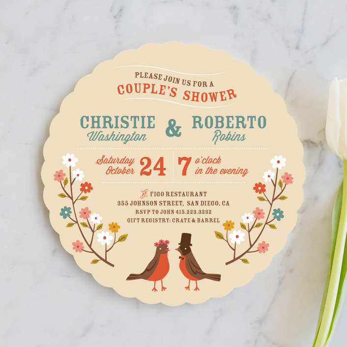 """""""Robin's Garden Couple"""" - Whimsical & Funny, Floral & Botanical Bridal Shower Invitations in Eggshell by Irene Chan."""