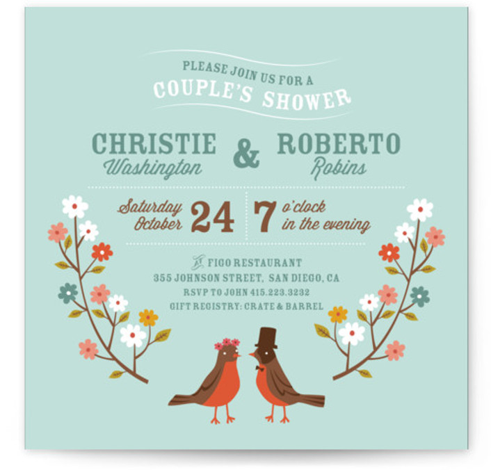 This is a square floral, whimsical, blue Bridal Shower Invitations by Irene Chan called Robin's Garden Couple with Standard printing on Signature in Classic Flat Card format. A cute couple's shower invitation featuring a pair of robin birds and colorful ...