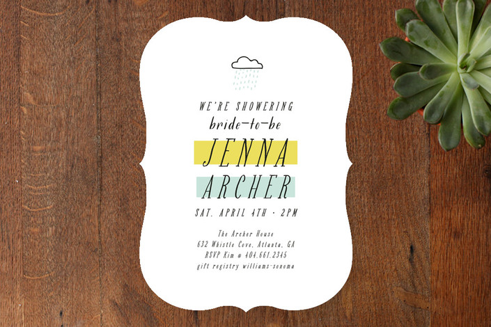 """Rainshower"" - Modern Bridal Shower Invitations in Mint by Stacey Meacham."