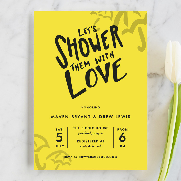 """""""Drawn With Love"""" - Modern Bridal Shower Invitations in Citric Yellow by Viv Jordan."""
