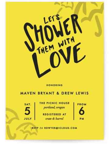 This is a portrait modern, yellow Bridal Shower Invitations by Viv Jordan called Drawn With Love with Standard printing on Signature in Classic Flat Card format. Bright, fun, fresh invite that communicates a guaranteed good time for all who attend. ...