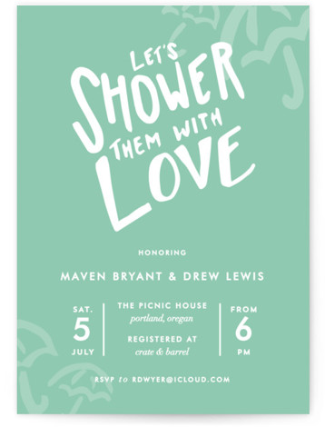 This is a portrait modern, green Bridal Shower Invitations by Viv Jordan called Drawn With Love with Standard printing on Signature in Classic Flat Card format. Bright, fun, fresh invite that communicates a guaranteed good time for all who attend. ...