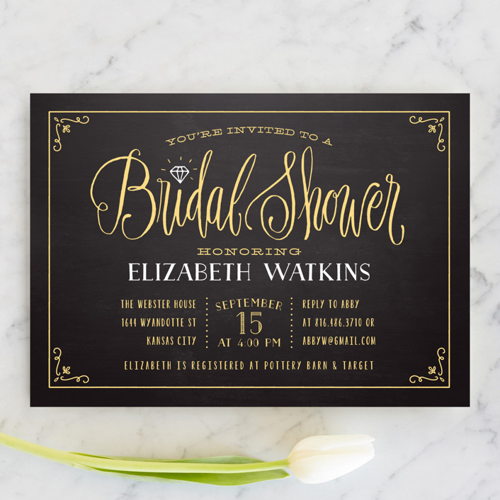 """Diamond Chalkboard"" - Vintage Bridal Shower Invitations in Petal by Laura Bolter Design."