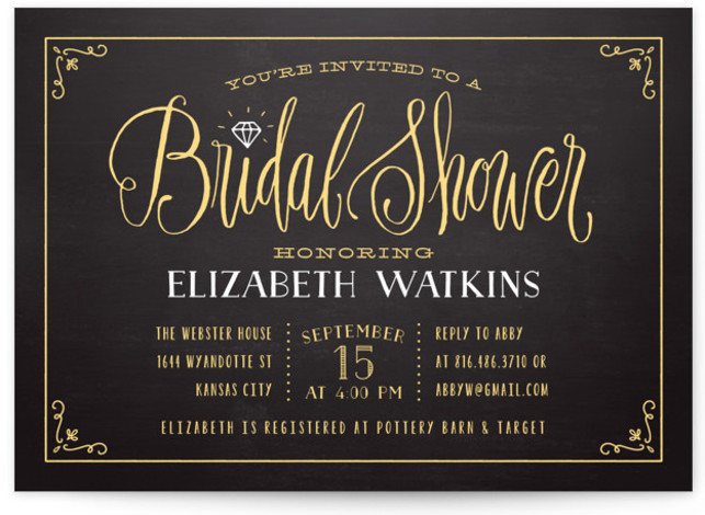 """This is a landscape vintage, yellow Bridal Shower Invitations by Laura Bolter Design called Diamond Chalkboard with Standard printing on Signature in Classic Flat Card format. Elegant and whimsical hand lettering with a twist—a diamond dots the """"i."""" Along with ..."""