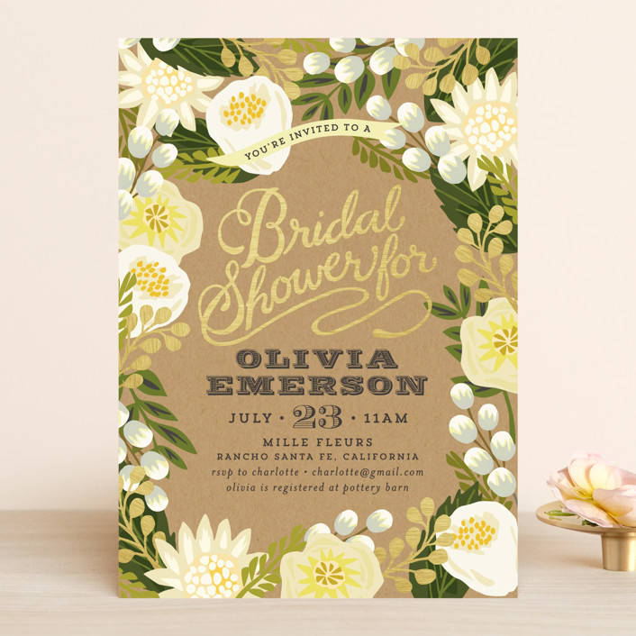 """Floral Canopy"" - Rustic Bridal Shower Invitations in Peony by Griffinbell Paper Co.."