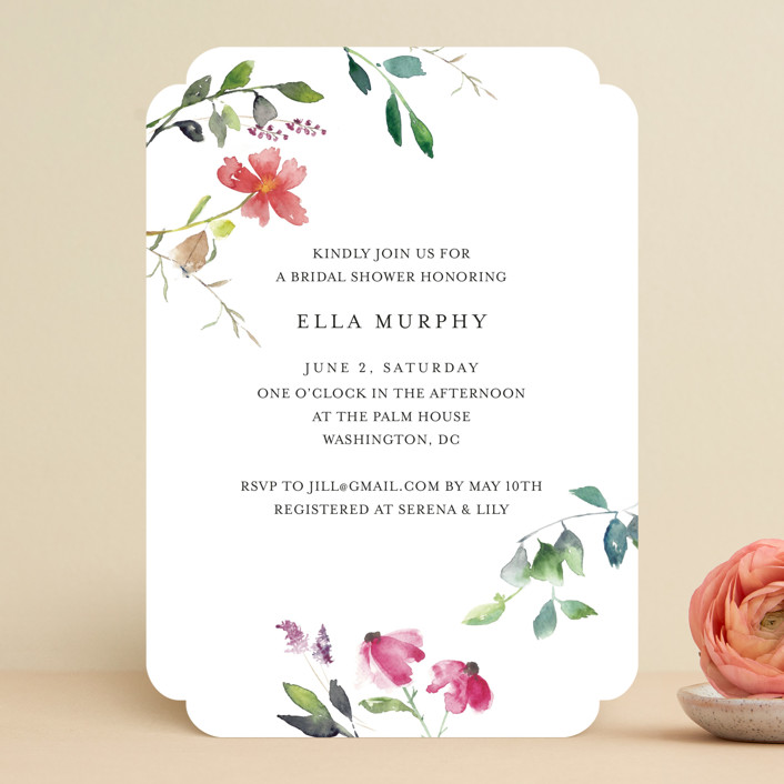"""""""Spring Wildflowers"""" - Bridal Shower Invitations in Floral by Mere Paper."""