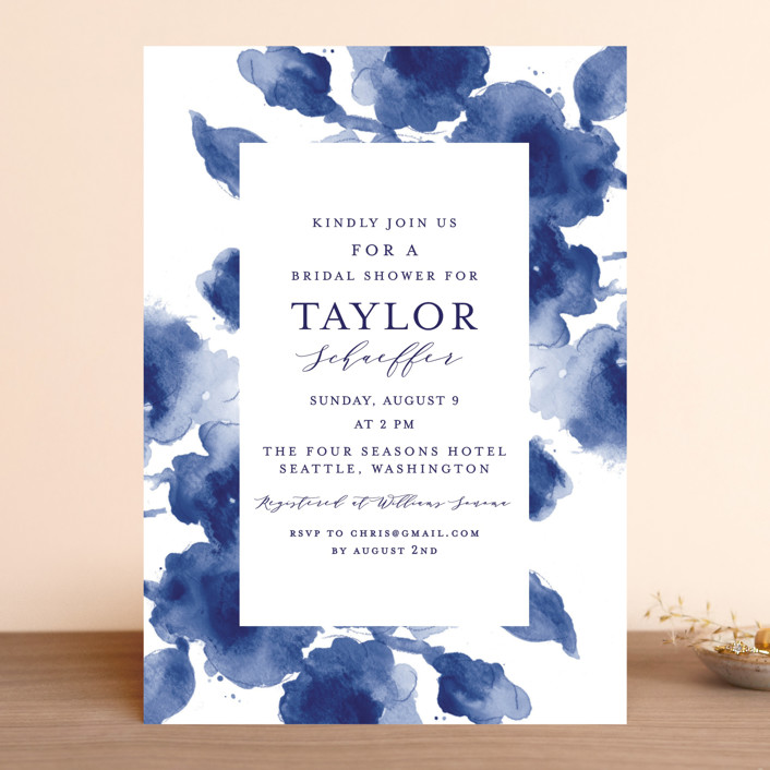 """""""Cornflower Wedding"""" - Bridal Shower Invitations in Periwinkle by Chris Griffith."""