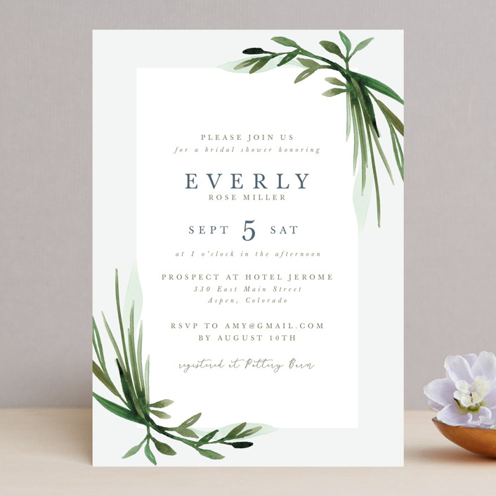 """Botanical Frame"" - Bridal Shower Invitations in Fern by Kate Ahn."