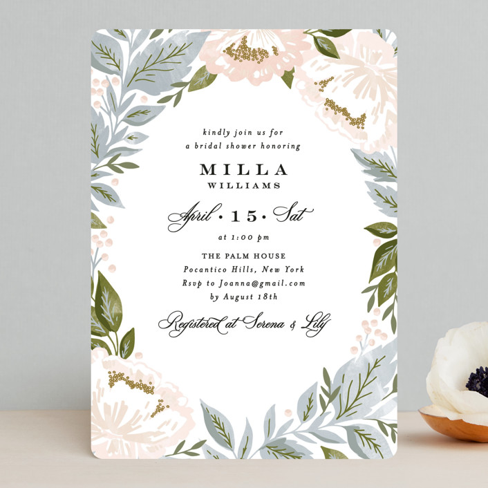 """Peony Floral Frame"" - Bridal Shower Invitations in Cornflower by Alethea and Ruth."