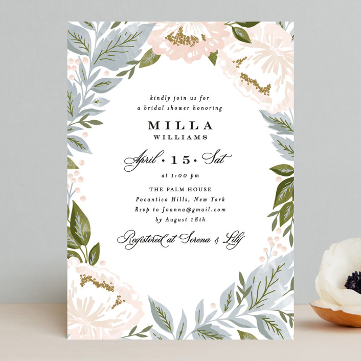 """""""Peony Floral Frame"""" - Bridal Shower Invitations in Cornflower by Alethea and Ruth."""