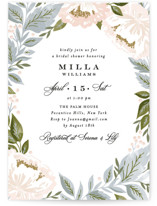 This is a blue bridal shower invitation by Alethea and Ruth called Peony Floral Frame with standard printing on signature in standard.