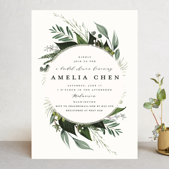 """Natures Greens"" - Bridal Shower Invitations in Ivory by Susan Moyal."