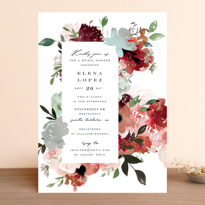 """""""Cascading Florals"""" - Bridal Shower Invitations in Rouge by Leah Bisch."""