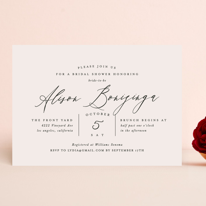 """""""Timeless"""" - Bridal Shower Invitations in Taupe by Leah Bisch."""