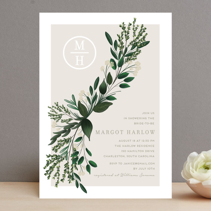 """Watermark"" - Bridal Shower Invitations in Cypress by Kaydi Bishop."
