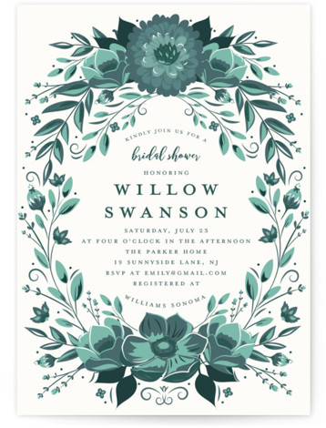 This is a green Bridal Shower Invitations by Susan Moyal called Glazed with Standard printing on Signature in Classic Flat Card format. This wedding shower invitation features a delft pottery inspired botanical frame.