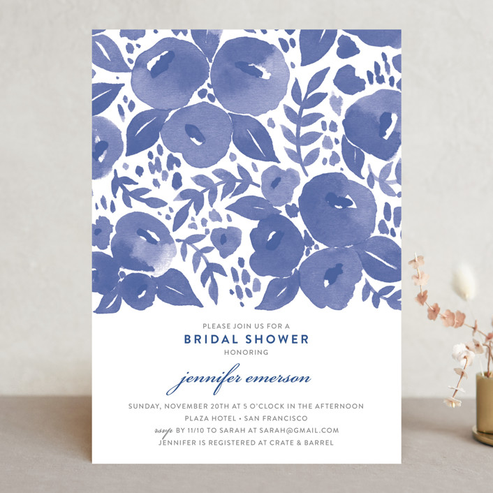 """Blue Blossoms"" - Floral & Botanical Bridal Shower Invitations in Lavender by Four Wet Feet Studio."