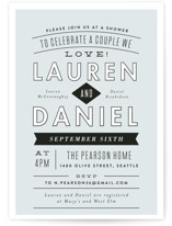 This is a blue bridal shower invitation by Alethea and Ruth called Clean Cut with standard printing on signature in standard.