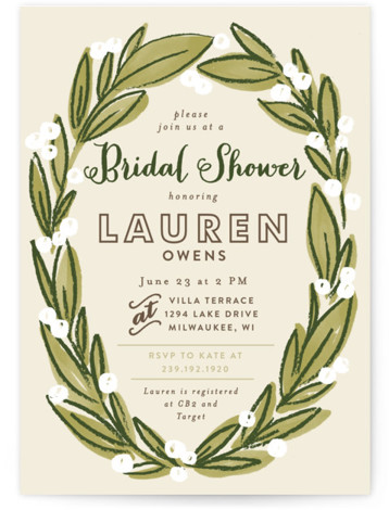 This is a portrait floral, hand drawn, green Bridal Shower Invitations by Alethea and Ruth called Laurel Wreath with Standard printing on Signature in Classic Flat Card format. Our unique bridal shower designs are fully customizable, sourced from independent designers ...