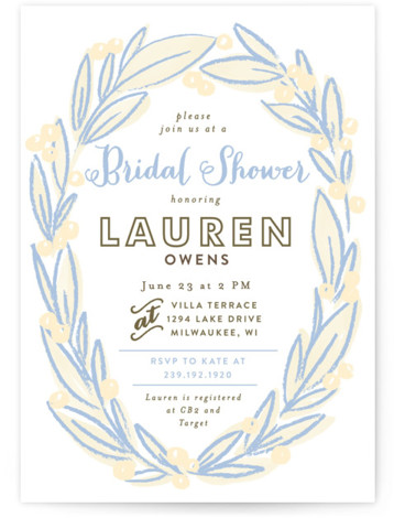 This is a portrait floral, hand drawn, blue Bridal Shower Invitations by Alethea and Ruth called Laurel Wreath with Standard printing on Signature in Classic Flat Card format. Our unique bridal shower designs are fully customizable, sourced from independent designers ...