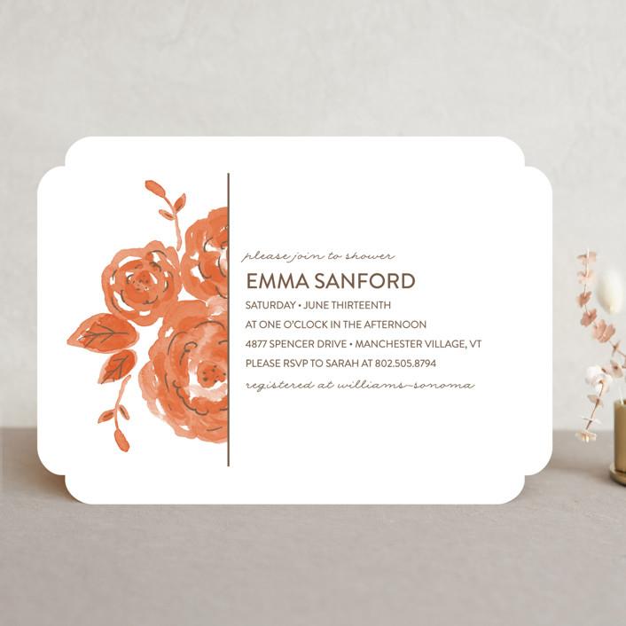 """Summer Blooms"" - Modern, Floral & Botanical Bridal Shower Invitations in Marigold by Olive and Me Studios."