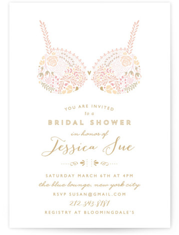 This is a portrait floral, whimsical, pink Bridal Shower Invitations by Phrosne Ras called Pretties with Standard printing on Signature in Classic Flat Card format. A pretty design in pastels featuring lingerie created from dainty illustrated floral detail. For the ...