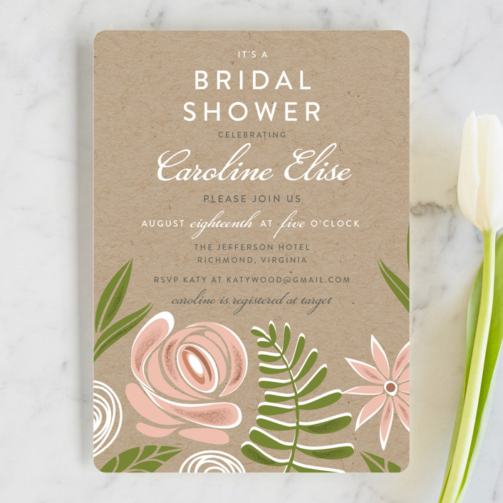"""""""Southern Krafted"""" - Floral & Botanical Bridal Shower Invitations in Peony by That Girl Press."""