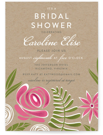 This is a portrait floral, pink Bridal Shower Invitations by That Girl Press called Southern Krafted with Standard printing on Signature in Classic Flat Card format. This bridal shower invitation features large floral illustrations on kraft paper.