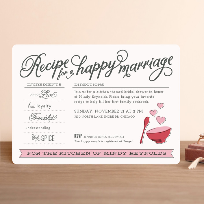 Recipe for marriage bridal shower invitations by jessie steury minted recipe for marriage whimsical funny bridal shower invitations in rose by jessie filmwisefo