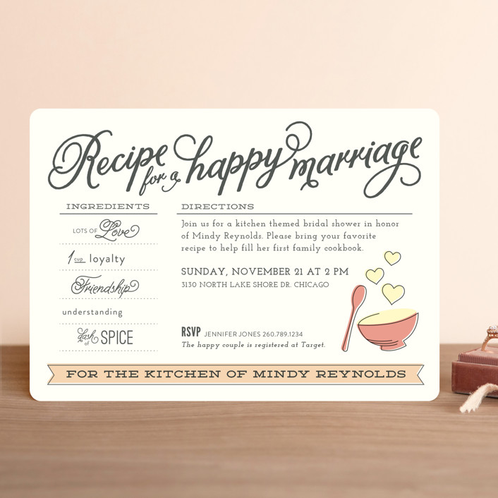 """""""Recipe for Marriage"""" - Whimsical & Funny Bridal Shower Invitations in Rose by Jessie Steury."""