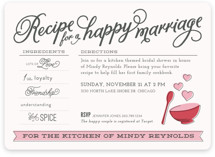 This is a pink bridal shower invitation by Jessie Steury called Recipe for Marriage with standard printing on signature in standard.