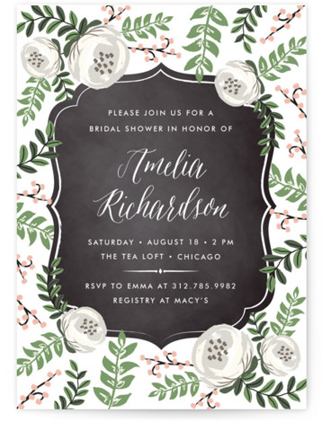 This is a portrait elegant, floral, pink Bridal Shower Invitations by Lehan Veenker called Chalkboard Florals with Standard printing on Signature in Classic Flat Card format. A bridal shower invitation featuring grand florals surrounding a chalkboard frame.