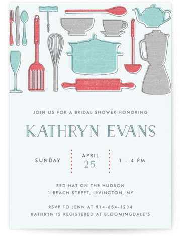 This is a portrait vintage, blue Bridal Shower Invitations by Annie Holmquist called Retro Kitchen with Standard printing on Signature in Classic Flat Card format. This bridal shower invitation was features favorite kitchen gifts for the bride to be. It ...