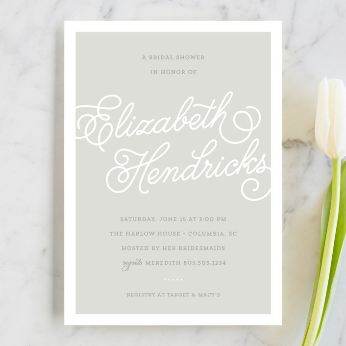 """Modern Script"" - Simple, Elegant Bridal Shower Invitations in Heather Grey by Sarah DeWitt."
