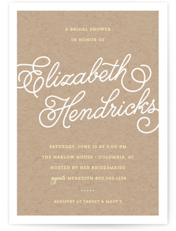 This is a portrait elegant, formal, simple, brown Bridal Shower Invitations by Dulce Dahlia called Modern Script with Standard printing on Signature in Classic Flat Card format. Modern, elegant bridal shower invite with the bride to be's name written in ...