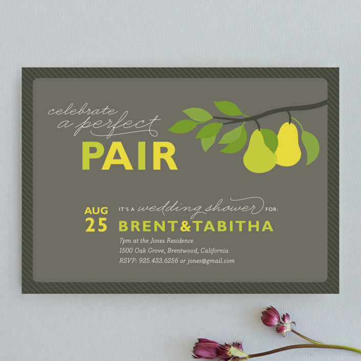"""Perfect Pair"" - Bold typographic Bridal Shower Invitations in Walnut by Jill Means."