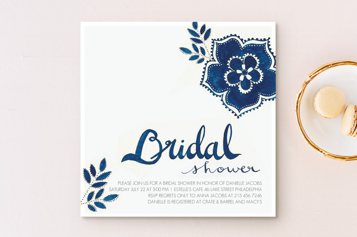 """Blue Elegance"" - Bridal Shower Invitations in Denim by Melissa Kelman."
