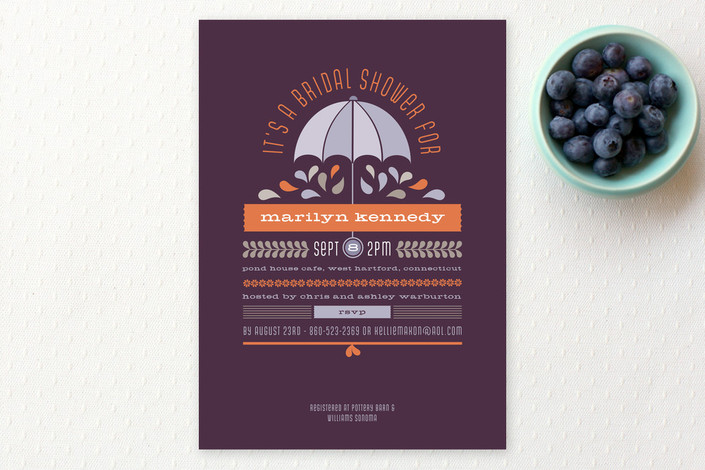 """Under My Umbrella"" - Bold typographic Bridal Shower Invitations in Tangerine by Sandy Pons."