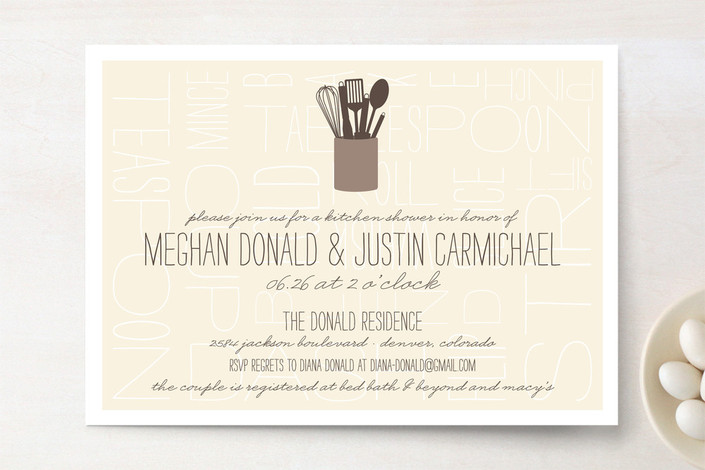 """Kitchen Type"" - Modern, Craft Bridal Shower Invitations in Mocha by Sarah Brown."