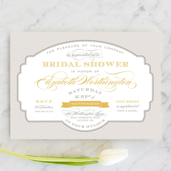 """Lovely Label"" - Formal, Vintage Bridal Shower Invitations in Chamomile by Sarah Brown."
