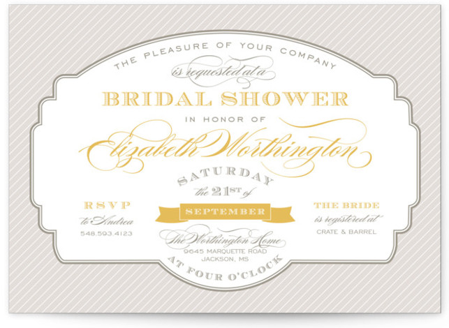 This is a landscape formal, vintage, yellow Bridal Shower Invitations by Sarah Brown called Lovely Label with Standard printing on Signature in Classic Flat Card format. Our unique bridal shower designs are fully customizable, sourced from independent designers and printed ...