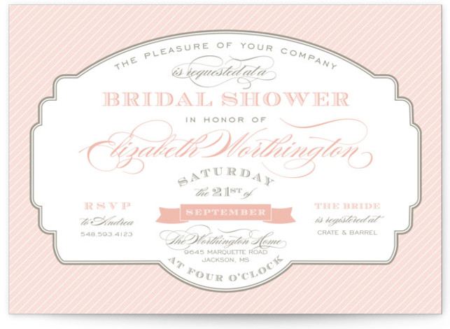 This is a landscape formal, vintage, pink Bridal Shower Invitations by Sarah Brown called Lovely Label with Standard printing on Signature in Classic Flat Card format.