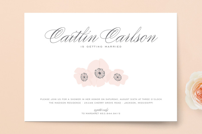 """Ethereal Bloom"" - Vintage, Formal Bridal Shower Invitations in Blush by Sarah Guse Brown."