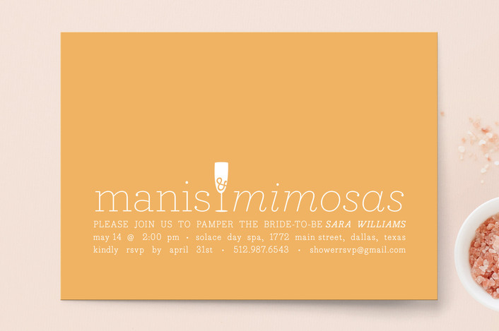 """""""Manis & Mimosas"""" - Simple, Modern Bridal Shower Invitations in Peach by Lauren Chism."""