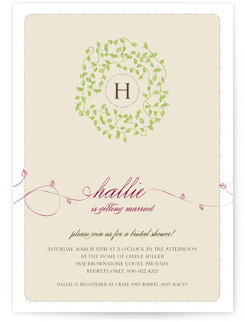 This is a portrait floral, hand drawn, rustic, whimsical, beige, purple Bridal Shower Invitations by Bonjour Paper called A Bride Wreath with Standard printing on Signature in Classic Flat Card format. Our unique bridal shower designs are fully customizable, sourced ...