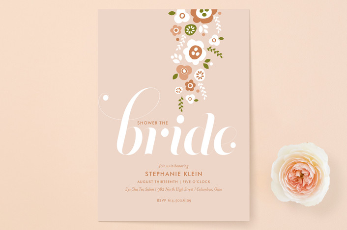 """Shower of Flowers"" - Simple, Modern Bridal Shower Invitations in Blush by Cheer Up Press."