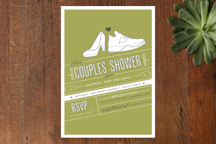 """Shoe Fetish"" - Modern, Whimsical & Funny Bridal Shower Invitations in Olive by Cheer Up Press."